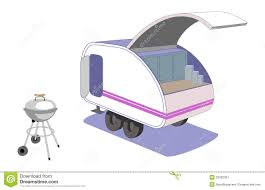 teardrop trailer and cool retro grill royalty free stock