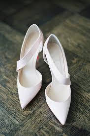 pale pink cross strap wedding shoes brides