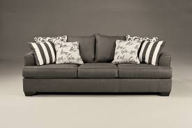 Ashley Furniture Tufted Sofa by Levon Contemporary Charcoal Fabric Pillow Back Sofa Living Rooms
