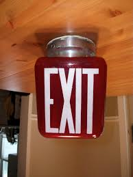 Sign Light Fixtures Vintage Glass Exit Sign With Light Fixture And Lightbulb