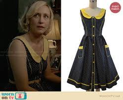 motel dresses norma s black and yellow polka dot dress on bates motel