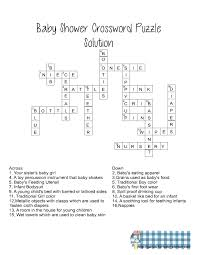 printable easy crossword puzzles with solutions printable baby shower crossword puzzle game