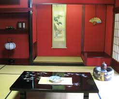 traditional japanese room design low wooden table on brown rug red