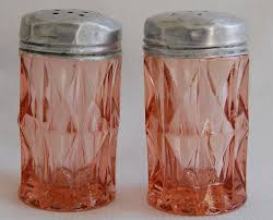 1940 s depression glass depression glass salt pepper shakers lovely set of pink depression glass salt and pepper shakers these shakers were produced by jeannette glass co between 1932 and the style was called