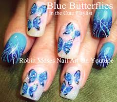 robin moses nail art blue polish with blue flowers