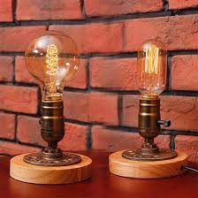 Desk Lamp With Dimmer Switch Edison Bulb Table Lights American Rural Solid Wood Desk Lamps