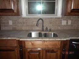 backsplash kitchen sink with granite shaped tile countertops