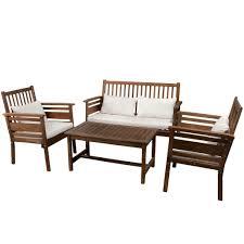 Patio Furniture Pensacola by Pensacola 4pc Outdoor Acacia Wood Sofa Set U2013 Gdf Studio