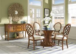 traditional style dining set with round glass dining table and