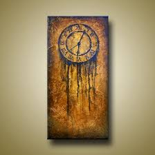 abstract clocks art painting of abstract clock with heavy texture original acrylic