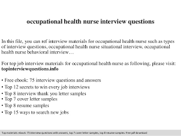 occupational health nurse interview questions