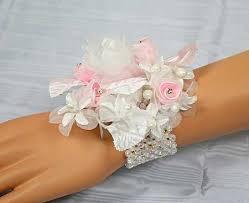 Corsage Wristlets Iridescent Beaded Stretchable Wrist Corsage Bracelet Corsage