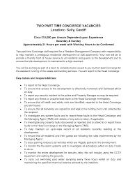Responsibility Resume Prepossessing Resume Description For Concierge With Concierge