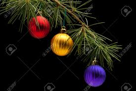 golden and purple matte bauble ornaments on pine