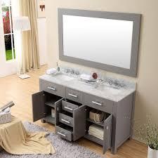 daston 60 inch gray double sink bathroom vanity white marble top