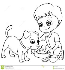 coloring book child feeding dog vector stock vector image 63293878