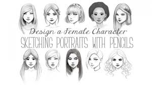 design a female character sketching portraits with pencils