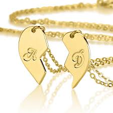 couples puzzle heart necklace images Half heart necklace his and hers jewelry gold plated jpg