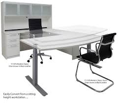 Adjustable Office Chair Electric Lift Adjustable Height White U Desk W Hutch