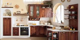 made of natural wood in the kitchen in the italian style