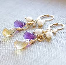 citrine earrings beautiful day earrings citrine gemstones purple amethyst white