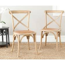 safavieh franklin weathered oak rattan x back dining chair set of