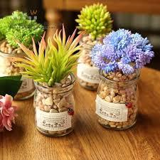 fake flowers for home decor diy mini creative succulent plants glass bottle stone set