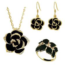 black jewelry necklace images 18ct yellow gold plated black crystal jewellery set billionia jpg