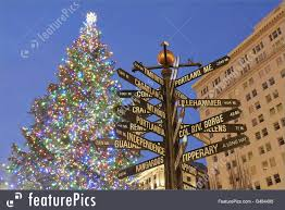 holidays christmas tree in portland pioneer square stock image