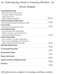 fresh salads menu
