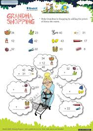 grandma shopping math worksheet for grade 1 free u0026 printable