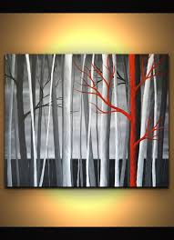 black white abstract trees painting modern wall by zarasshop