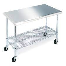 Kitchen Table With Wheels by Amazon Com Seville Classics She18308wh Commercial Nsf Stainless