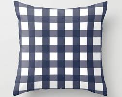 Naval Services First Decoration Buffalo Check Pillow Navy And Teal Pillow Plaid Pillow