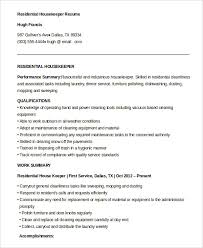 Housekeeper Resume Samples Free Housekeeping Resume Example 9 Free Word Pdf Documents Download
