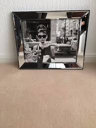 audrey hepburn b u0026 w mirror framed wall picture in stretford
