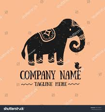 black indian elephant doodle stock vector 501378457