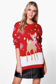 boohoo clothing niamh reindeer christmas jumper boohoo
