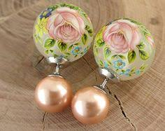 two sided earrings floral pearl earrings tribal pearl sided