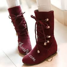 womens flat boots uk buy toe lace up mid calf flat black burgundy boots shoes for