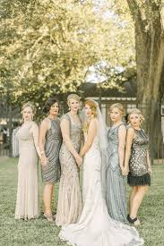 great gatsby themed wedding deco neutral mismatched bridesmaid dresses with beading