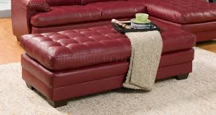 Ottoman Red by Sectional Sofa 9739 In Red Bonded Leather By Homelegance