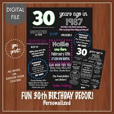 30th birthday decor 30th birthday poster 30th 30 years