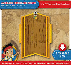jake neverland pirates treasure chest envelope fits