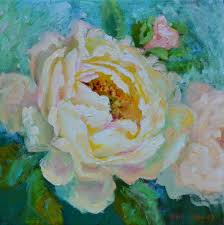 peach peony painting impressionistic peony painting peony decor