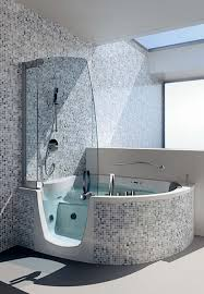 Bathroom Mosaic Tile Ideas Simple Bathroom Design Featuring Center Jacuzzi Shower Combination