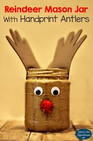 Kids Reindeer Crafts - reindeer mason jar with handprint antlers craft