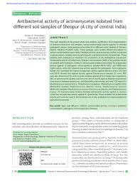 soil report sample antibacterial activity of actinomycetes isolated from different antibacterial activity of actinomycetes isolated from different soil samples of sheopur a city of central india pdf download available