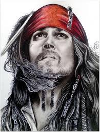 dessin au fusain jack sparrow pirate des caraibes sarah berthier