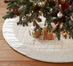 shiny velvet quilted tree skirt ivory pottery barn
